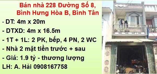 Bán nhà 228 Đường Số 8, P. Bình Hưng Hòa B, Bình Tân