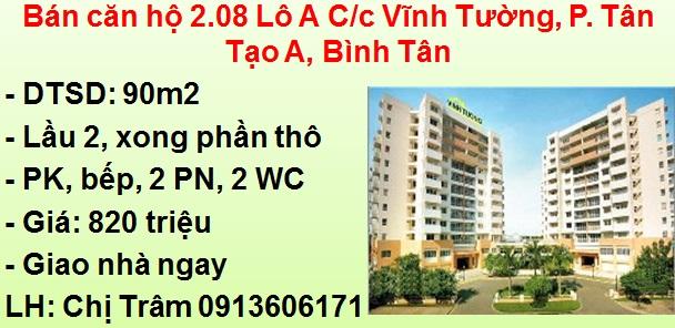 Bán căn hộ 90m2 - Lô B C/c Vĩnh Tường, P. Tân Tạo A, Bình Tân
