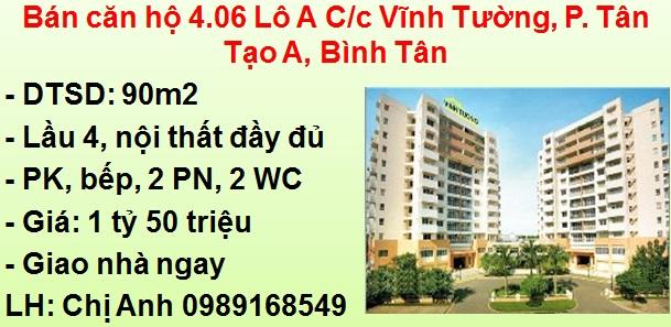 Bán căn hộ 90m2 - Lô A C/c Vĩnh Tường, P. Tân Tạo A, Bình Tân