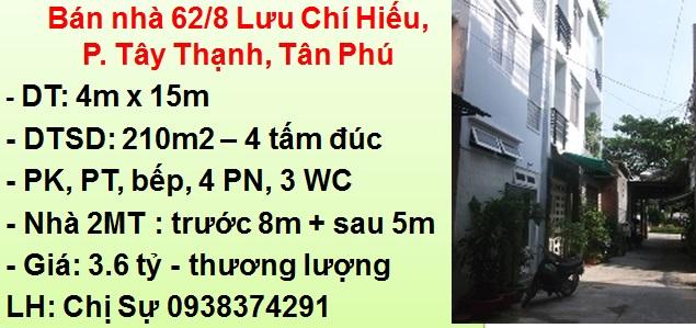 Bán nhà 2 mặt tiền 8m + 5m: 62/8 Lưu Chí Hiếu, P. Tây Thạnh, Tân Phú
