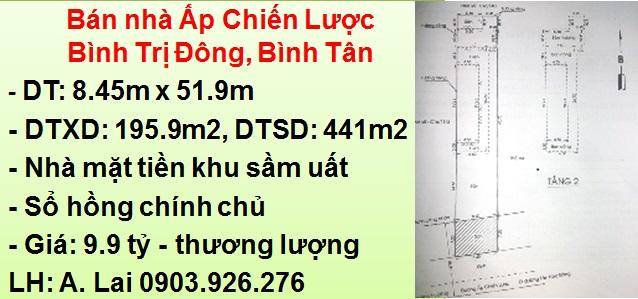 Bán nhà 441m2 mặt tiền Ấp Chiến Lược, BTĐ, Bình Tân
