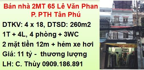 Bán Nhà 2 mặt tiền 65 Lê Văn Phan, P. Phú Thọ Hòa, Tân Phú