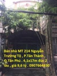 Bán Nhà MT Số 214 Nguyễn Trường Tộ , P. Tân Thành , Quận Tân Phú