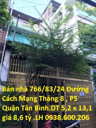 Bán Nhà Hẻm 5m Số 766/83/24 Cách Mạng Tháng 8 , Phường 5 , Quận Tân Bình