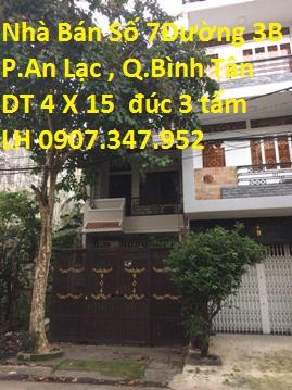 Nhà Bán MT Số 7 Đường Số 3B , P. Bình Trị Đông B , Quận Bình Tân