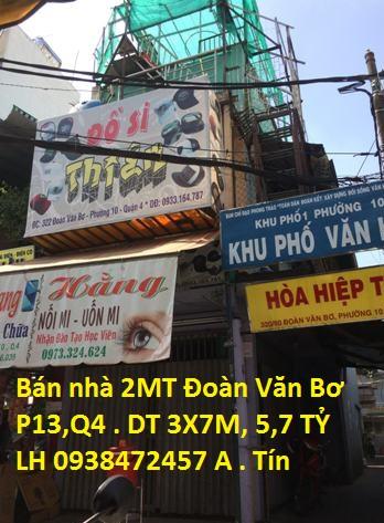 Kẹt tiền bán rẻ nhà căn góc 2 mặt tiền Đoàn Văn Bơ, p13, Q4