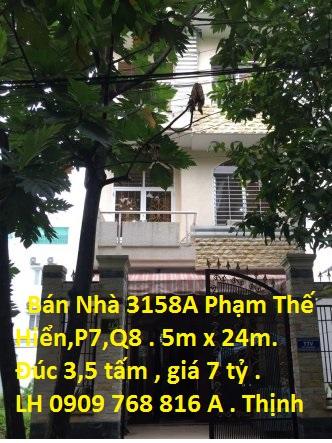 Bán nhà mặt tiền đường 3158A Phạm Thế Hiển (KDC Phú Lợi) , P. 7, Q. 8