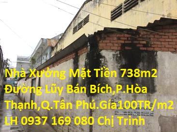 Cần bán đất nhà xưởng mặt tiền 738m2, đường Lũy Bán Bích xây dựng trên đất thổ cư,P.Hòa Thạnh,Q.Tân Phú