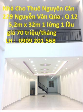 Cho Thuê Nhà Nguyên Căn 229 Nguyễn Văn Quá, Phường Đông Hưng Thuận, Quận 12
