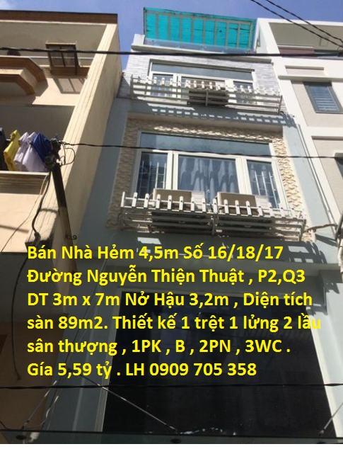 Bán Nhà HXH Số 16/18/17 Nguyễn Thiện Thuật, P2 , Q3