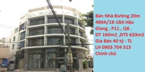 Bán nhà Mặt Tiền Kinh Doanh số 489b/18-18a Hậu Giang, Phường 11, Quận 6