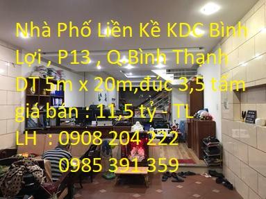 Chính chủ bán nhà phố KDC Bình Lợi, P13, Bình Thạnh