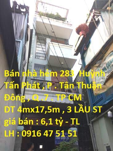 Bán nhà đường Huỳnh Tấn Phát, P.Tân Thuận Đông, Q.7
