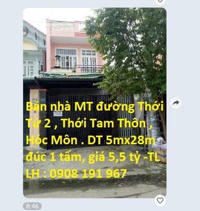 Bán nhà mặt tiền đường Thới Tứ 2, Xã Thới Tam Thôn, Huyện Hóc Môn