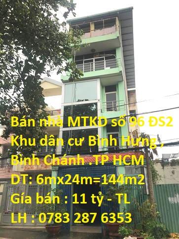 Bán Nhà MẶT TIỀN 96 Đường Số 2 , KDC Bình Hưng , Bình Chánh