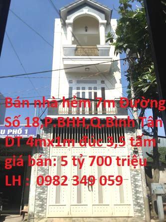 Bán Nhà Hẻm Xe Tải 7m Số 16/98B Đường Số 18 ( M1 ) , Phường Bình Hưng Hòa , Quận Bình Tân