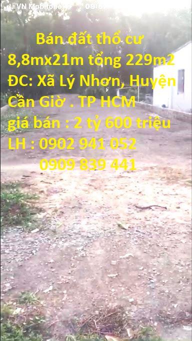 Bán Đất Thổ Cư 8,8mx21m, Xã Lý Nhơn, Huyện Cần Giờ. TP HCM