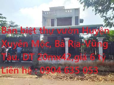 Chính Chủ Bán Biệt Thự Vườn Mặt Tiền Đường Gần KDL Suối Nước Nóng Bình Châu  Xã Xuyên Mộc, Huyện Xuyên Mộc, Bà Rịa - Vũng Tàu .