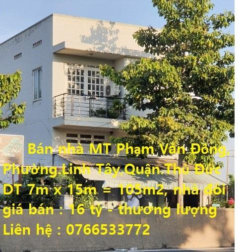 Bán nhà mặt tiền đường Phạm Văn Đồng, phường. Linh Tây, TP. Thủ Đức