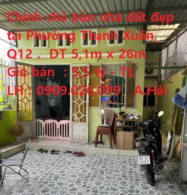 Chính chủ cần bán nhà đất có sẵn nhà cấp 4 đẹp tại Phường Thạnh Xuân, Quận 12, TPHCM