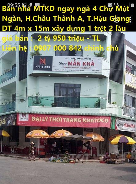Chính chủ bán nhà mặt tiền kinh doanh Đường Số 3B ,ngay ngã 4 chợ Một Ngàn, Huyện. Châu Thành A,Tỉnh. Hậu Giang