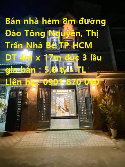 Cần tìm người may mắn và đủ duyên sở hữu căn nhà phố, xây mới tinh, sân đậu xe hơi, đường Đào Tông Nguyên, TT. Nhà Bè, TP.HCM